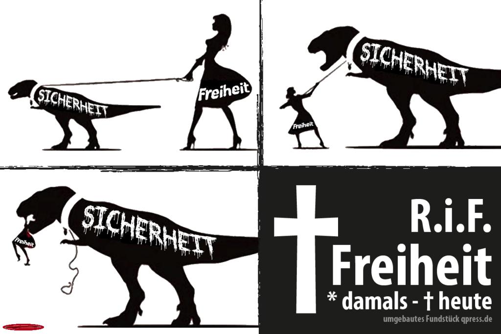 Tod-der-Freiheit-durch-Sicherheit-Ueberwachungsstaat-Grundrechte-Verbote-Einschraenkungen-Saurier-Liberty-dinosaur-1024x683